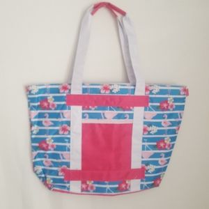 Large Blue and pink flamingos beach tote bag